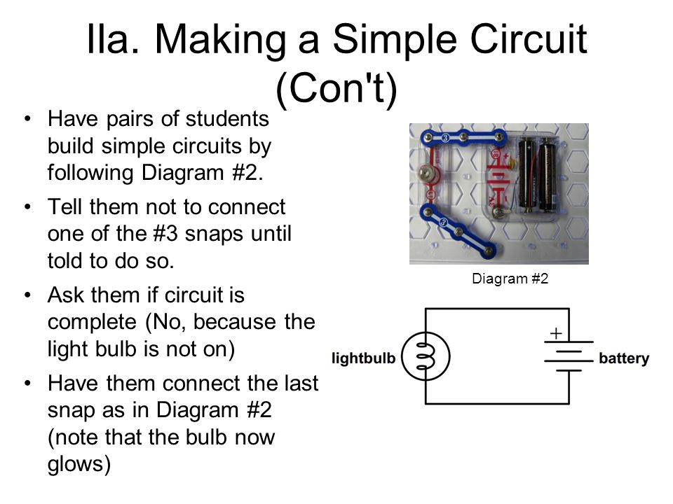 IIa. Making a Simple Circuit (Con't) Have pairs of students build simple circuits by following Diagram #2. Tell them not to connect one of the #3 snap