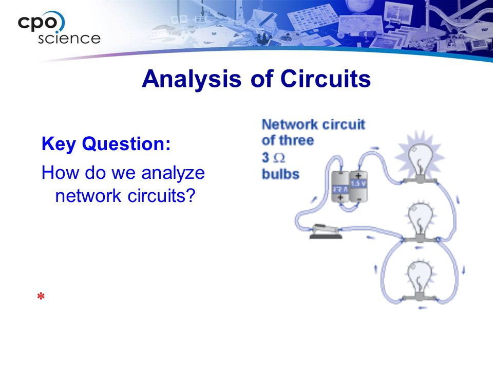 Analysis of Circuits Key Question: How do we analyze network circuits? *