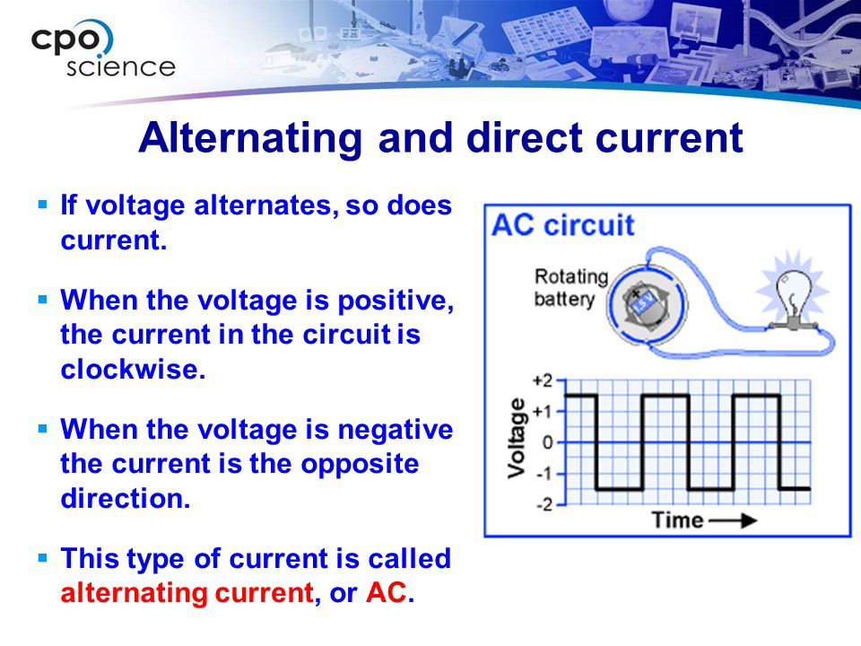 Alternating and direct current  If voltage alternates, so does current.  When the voltage is positive, the current in the circuit is clockwise.  Wh