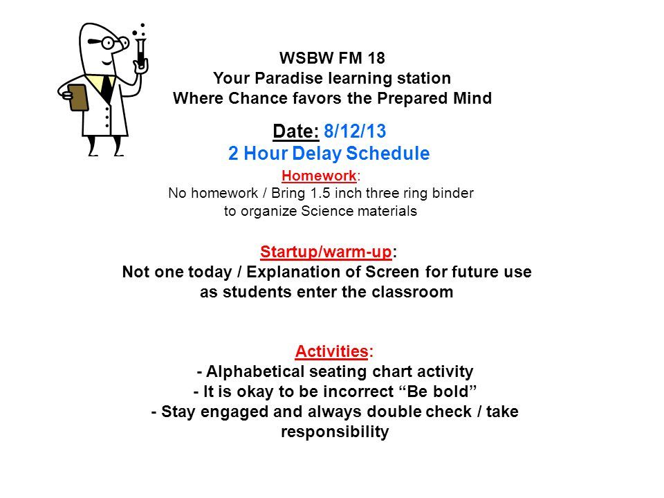 Homework: Read pages 420 – 425 #'s 1 – 3; 5 -10/ wear T-shirts Take home Quiz – Lesson 4 Cell Processes Final Thursday 40 questions – Unit 6 The Cell test Friday WSLW FM 19 Your Paradise learning station Where Chance favors the Prepared Mind Date : 5/19/14 T-Shirts tomorrow!!.