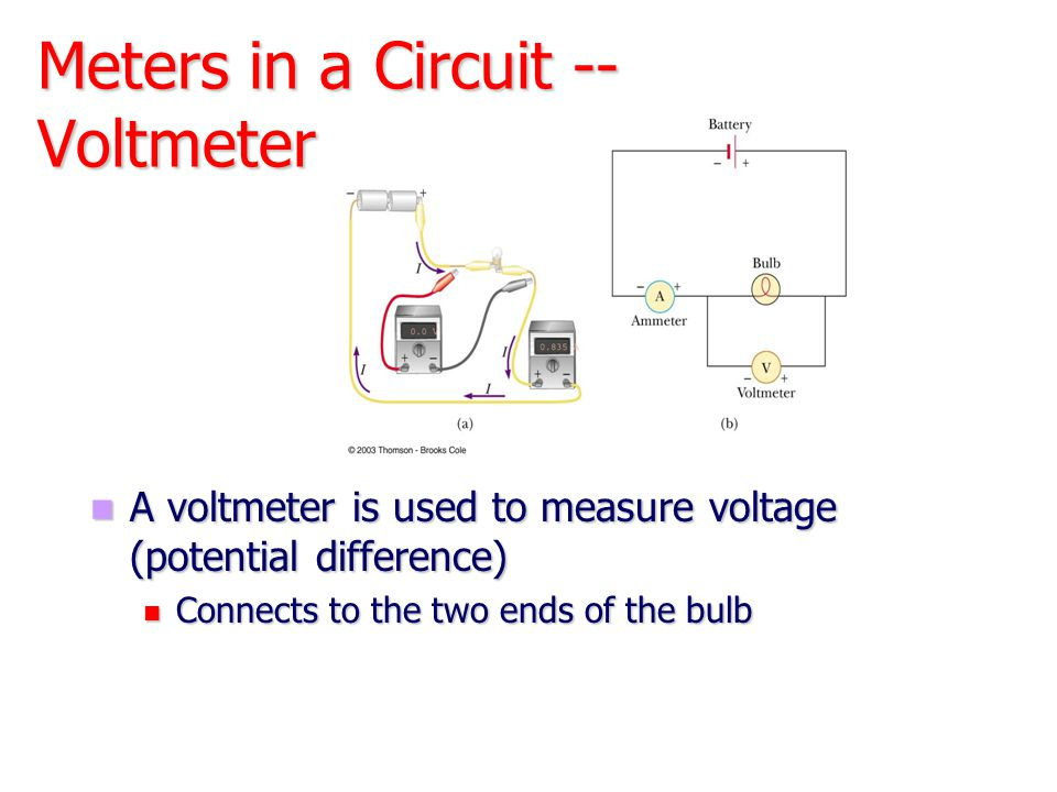 Meters in a Circuit -- Voltmeter A voltmeter is used to measure voltage (potential difference) Connects to the two ends of the bulb