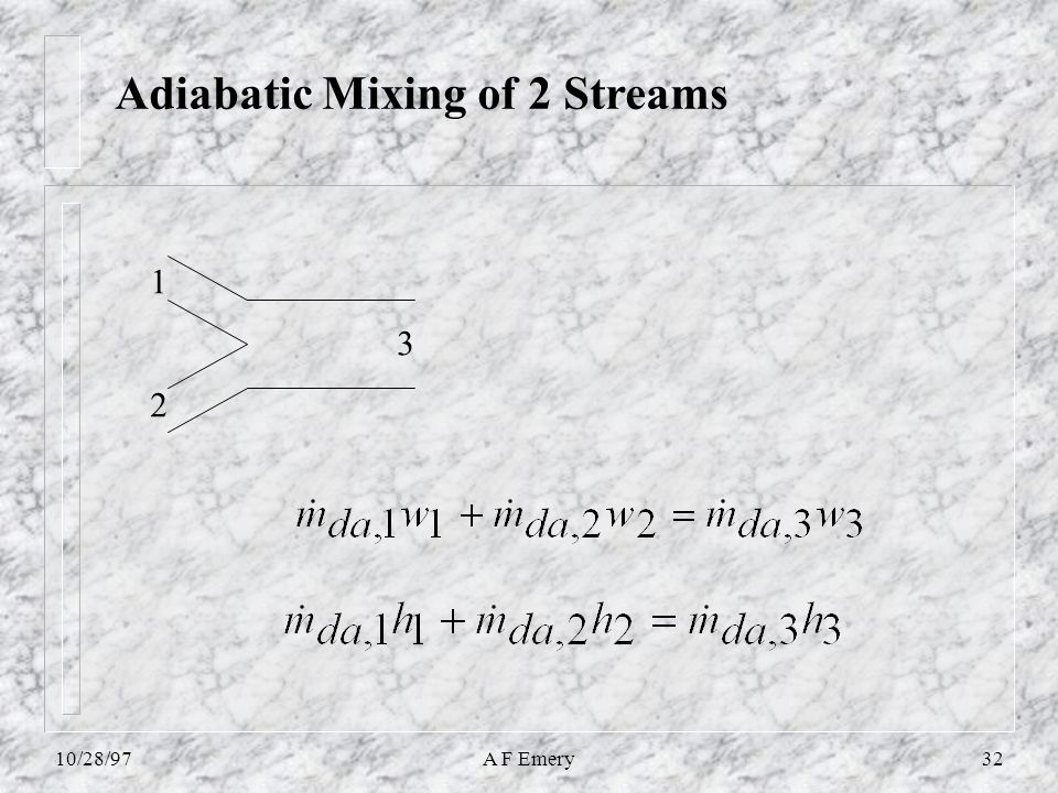 10/28/97A F Emery32 Adiabatic Mixing of 2 Streams 1 2 3