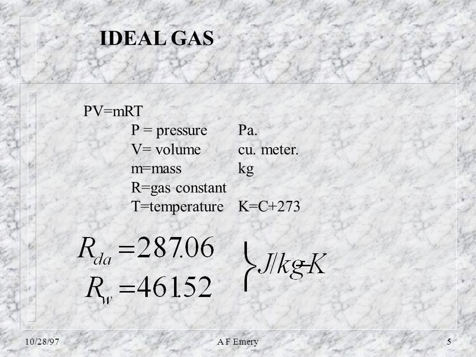 10/28/97A F Emery6 Dalton's Law partial pressures