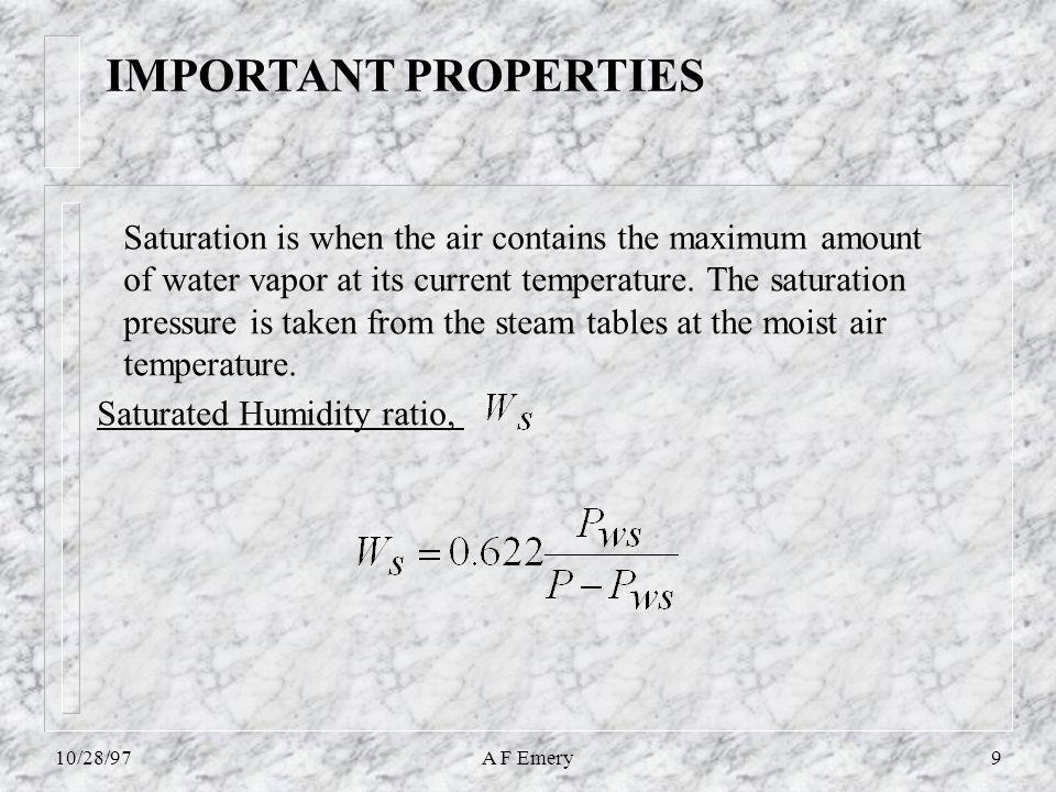 10/28/97A F Emery20 Simple Heating, solution 0026.0 21  WW 10+0.0026*(1.805*10+2501)=16.55 kJ/kg = 10.05kJ/kg-da CTTT20 2,4C * 1,10C 1  20+0.0026*(1.805*20+2501)=26.60 kJ/kg
