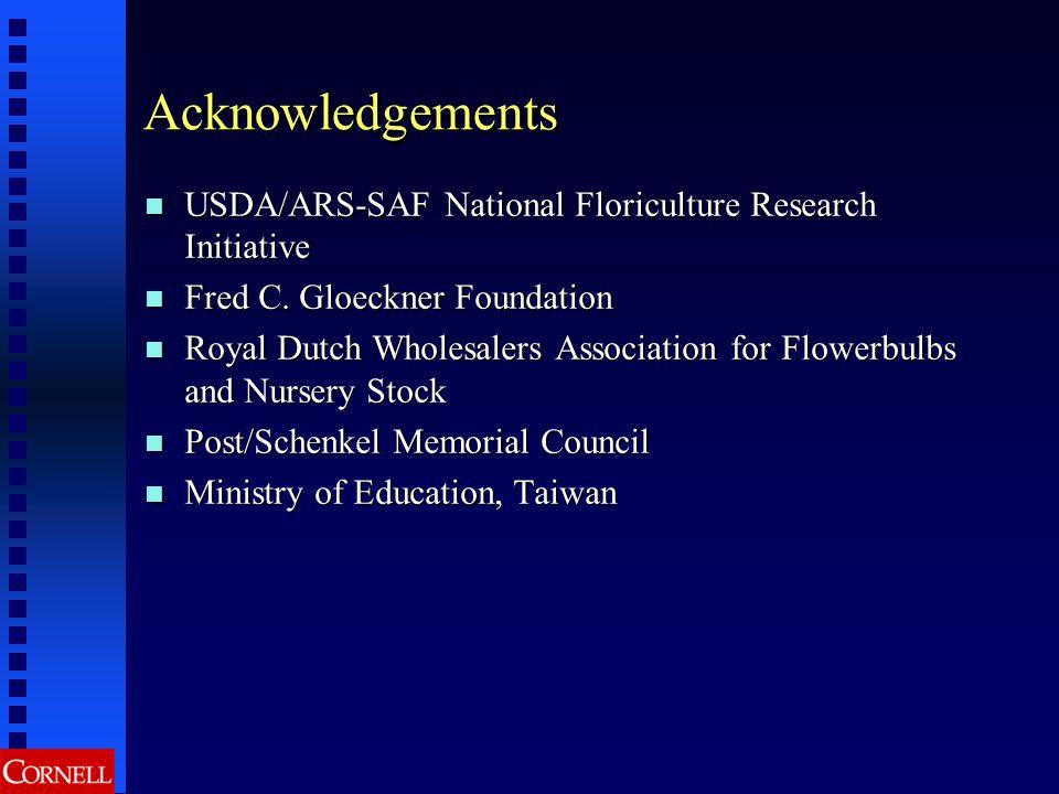 Acknowledgements USDA/ARS-SAF National Floriculture Research Initiative USDA/ARS-SAF National Floriculture Research Initiative Fred C.