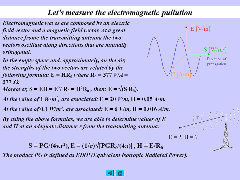 Let's measure the electromagnetic pullution Electromagnetic waves are composed by an electric field vector and a magnetic field vector. At a great dis