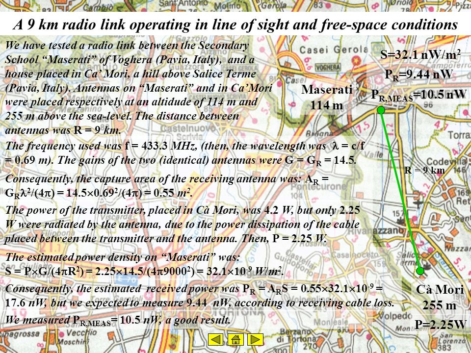 A 55 km radio link, operating only in line of sight conditions We tested another link, between Maserati in Voghera, and a point placed in Castelrocchero (Asti, Italy).