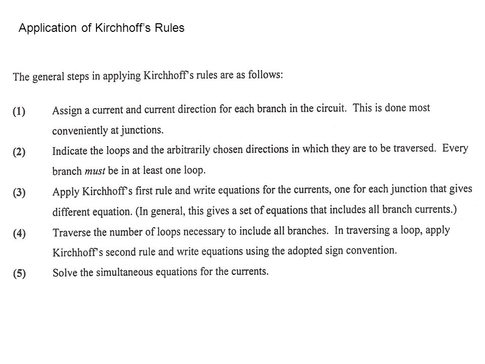 Application of Kirchhoff's Rules
