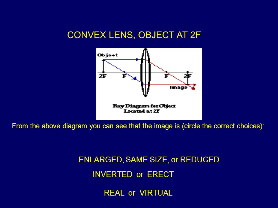 CONVEX LENS, OBJECT AT 2F From the above diagram you can see that the image is (circle the correct choices): ENLARGED, SAME SIZE, or REDUCED INVERTED or ERECT REAL or VIRTUAL