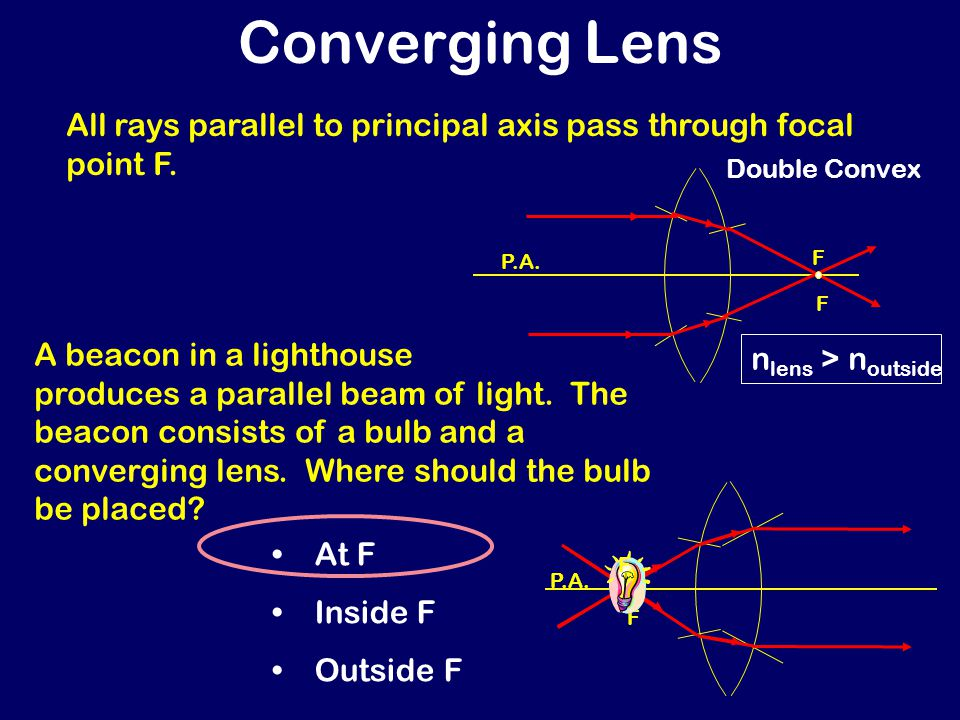 1) Rays parallel to principal axis pass through focal point.