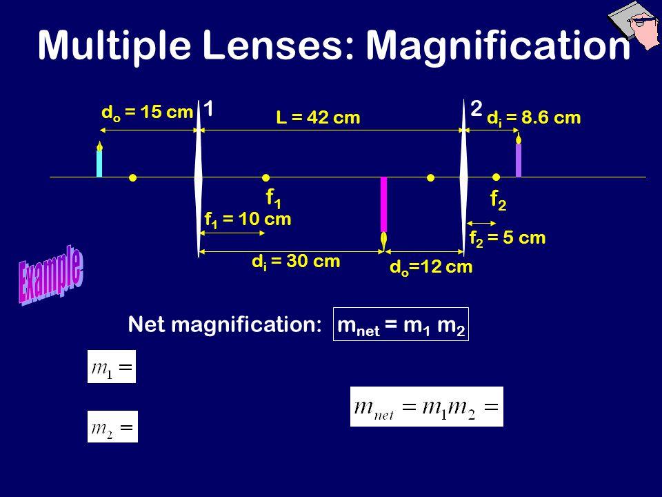 Multiple Lenses: Magnification f1f1 f2f2 d o = 15 cm f 1 = 10 cm d i = 30 cm f 2 = 5 cm L = 42 cm d o =12 cm d i = 8.6 cm 12 Net magnification: m net = m 1 m 2