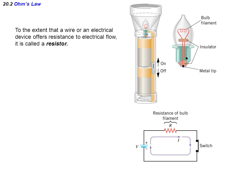 20.2 Ohm's Law To the extent that a wire or an electrical device offers resistance to electrical flow, it is called a resistor.
