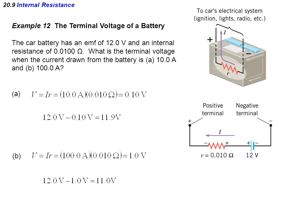 20.9 Internal Resistance Example 12 The Terminal Voltage of a Battery The car battery has an emf of 12.0 V and an internal resistance of 0.0100 Ω.