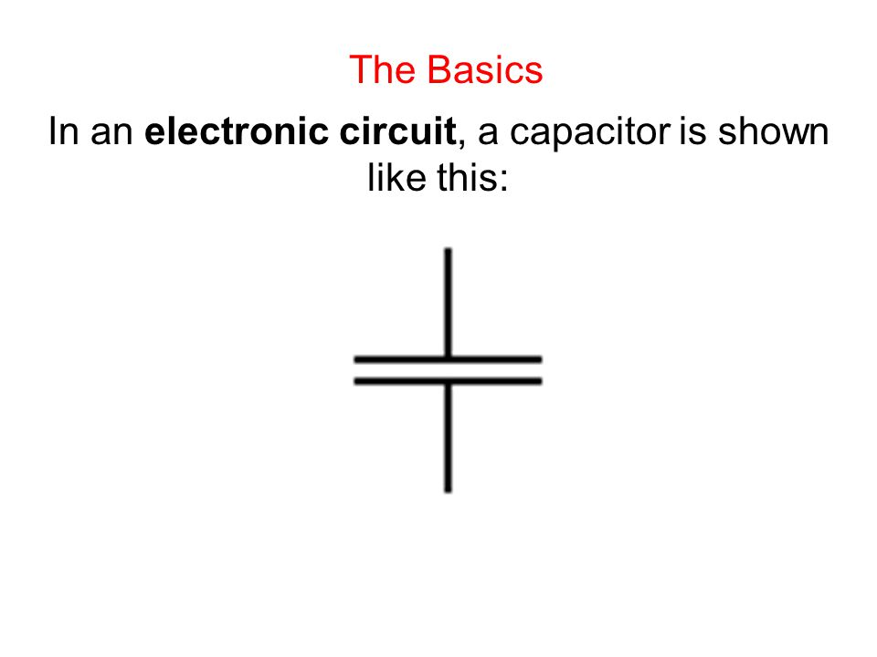 The Basics In an electronic circuit, a capacitor is shown like this: