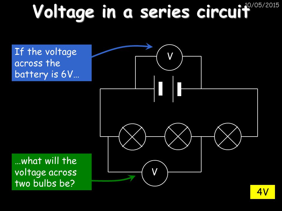 10/05/2015 Voltage in a parallel circuit If the voltage across the batteries is 4V… What is the voltage here.