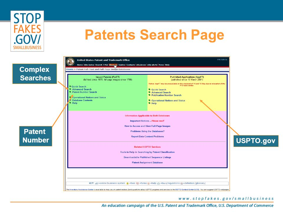 The USPTO allows the public to freely search on our Web site, USPTO.gov –http://www.uspto.gov/patft/index.html Additionally, other national offices allow you to search their databases.