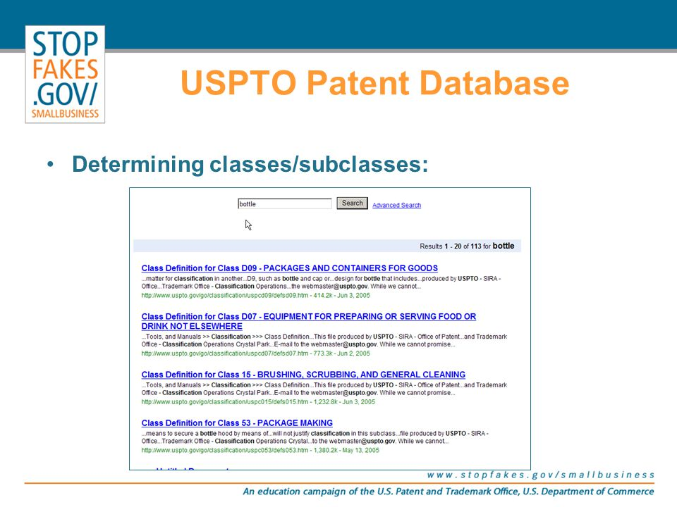 USPTO Patent Database Determining classes/subclasses: