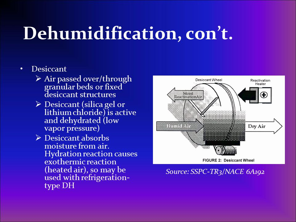 Dehumidification, con't. Desiccant  Air passed over/through granular beds or fixed desiccant structures  Desiccant (silica gel or lithium chloride)