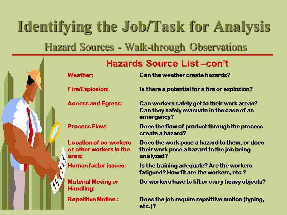 Identifying the Job/Task for Analysis Hazard Sources - Walk-through Observations Hazards Source List –con't Weather:Can the weather create hazards? Fi