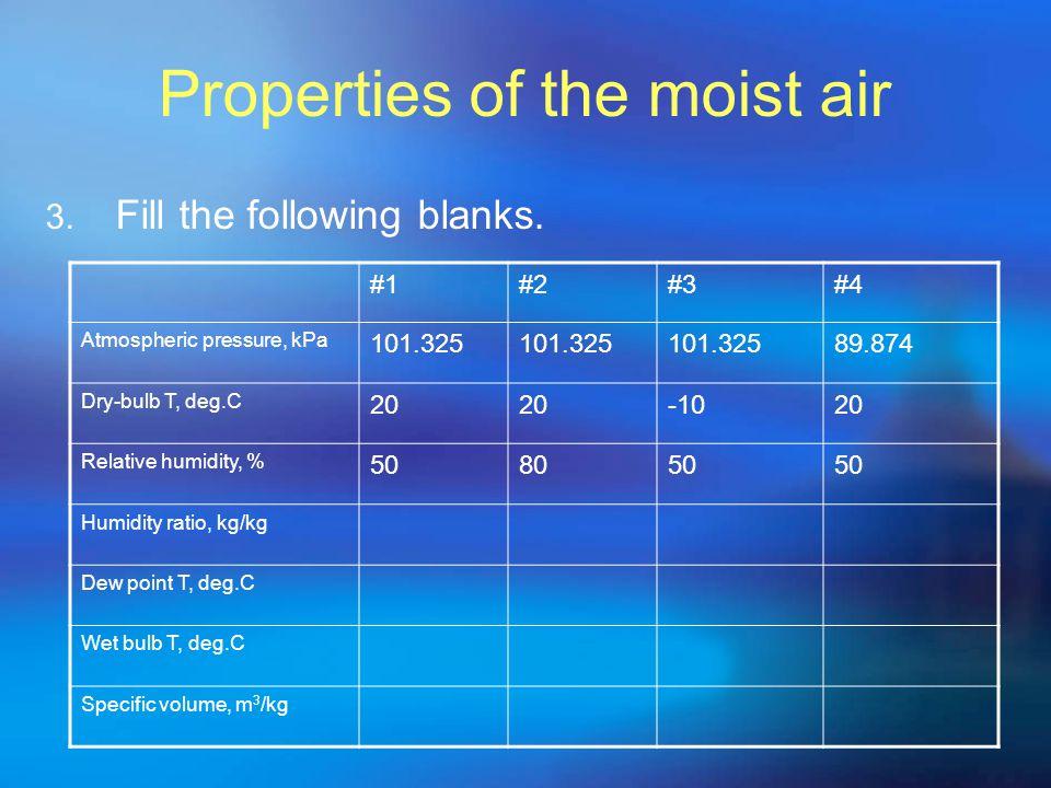 Properties of the moist air 3. Fill the following blanks. #1#2#3#4 Atmospheric pressure, kPa 101.325 89.874 Dry-bulb T, deg.C 20 -1020 Relative humidi