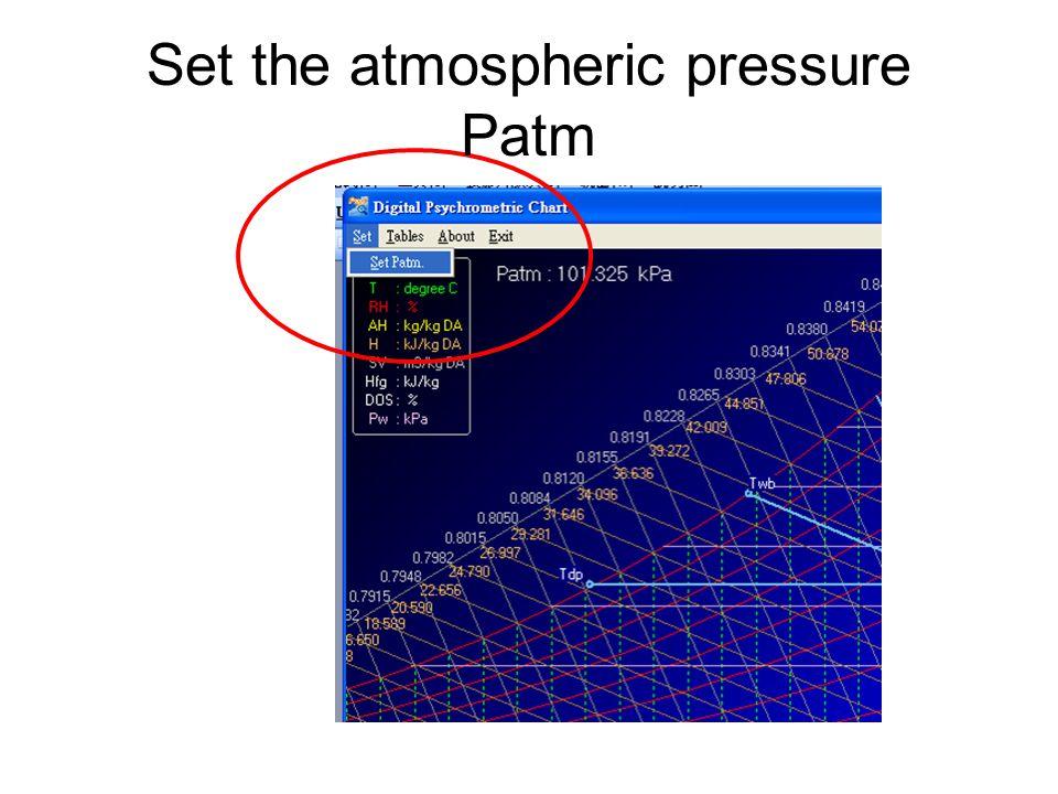 Set the atmospheric pressure Patm