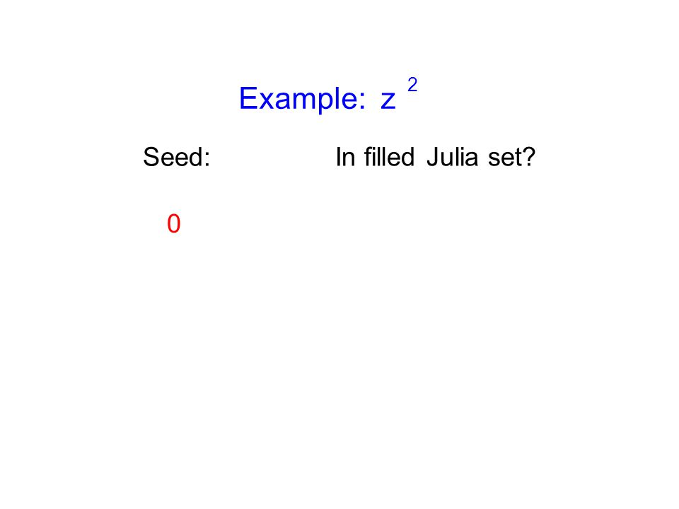 Example: z 2 Seed: 0 In filled Julia set