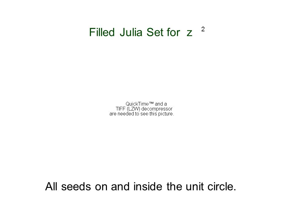 Filled Julia Set for z 2 All seeds on and inside the unit circle. i 1