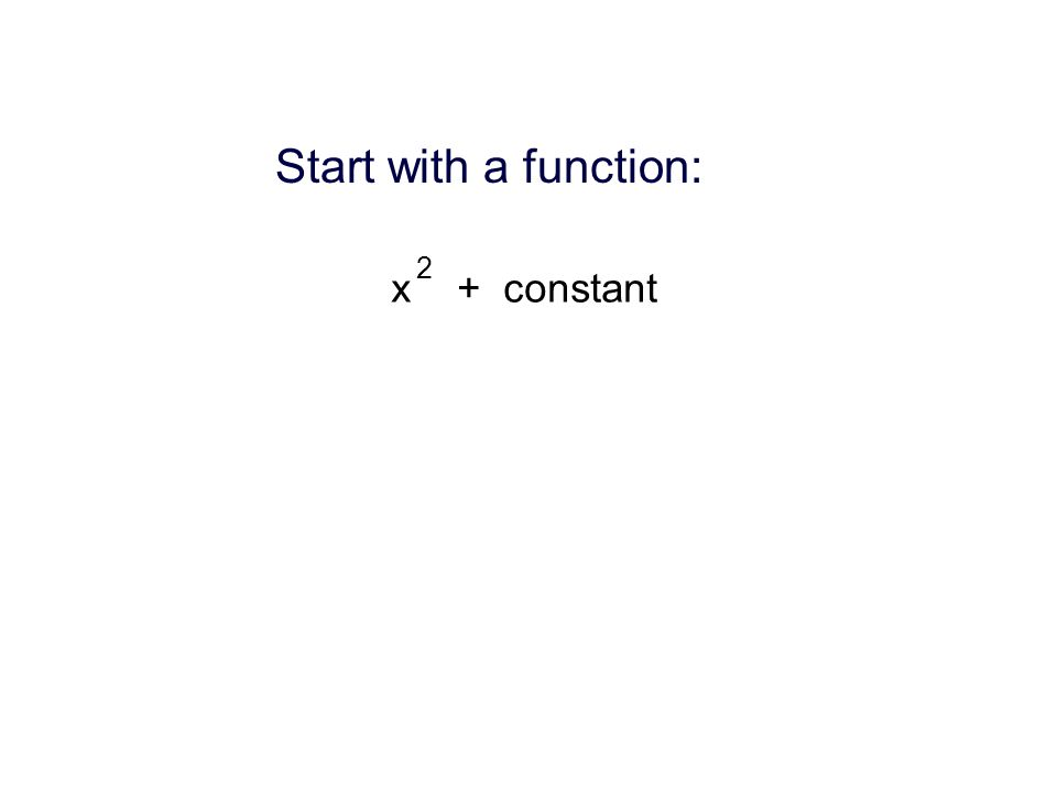 Start with a function: x + constant 2