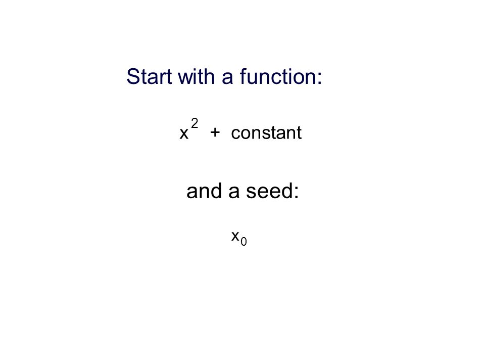 Start with a function: x + constant 2 and a seed: x 0