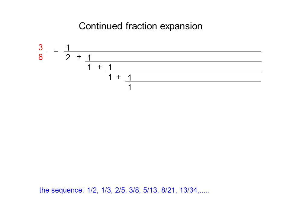 Continued fraction expansion 3838 = 1212 + 1111 + 1111 1111 + the sequence: 1/2, 1/3, 2/5, 3/8, 5/13, 8/21, 13/34,.....
