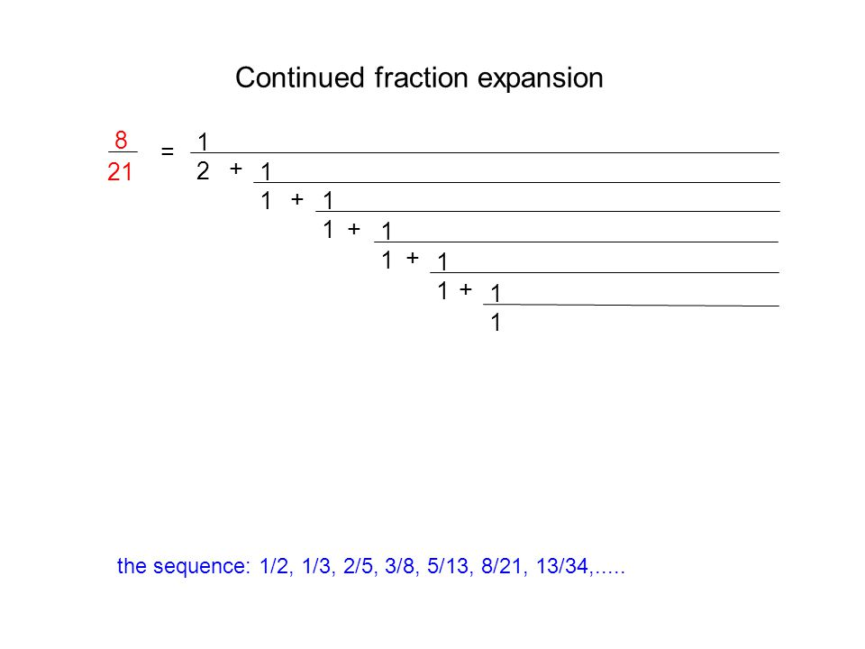 Continued fraction expansion = 1212 + 1111 + 1111 1111 + 1111 + 8 21 1111 + the sequence: 1/2, 1/3, 2/5, 3/8, 5/13, 8/21, 13/34,.....