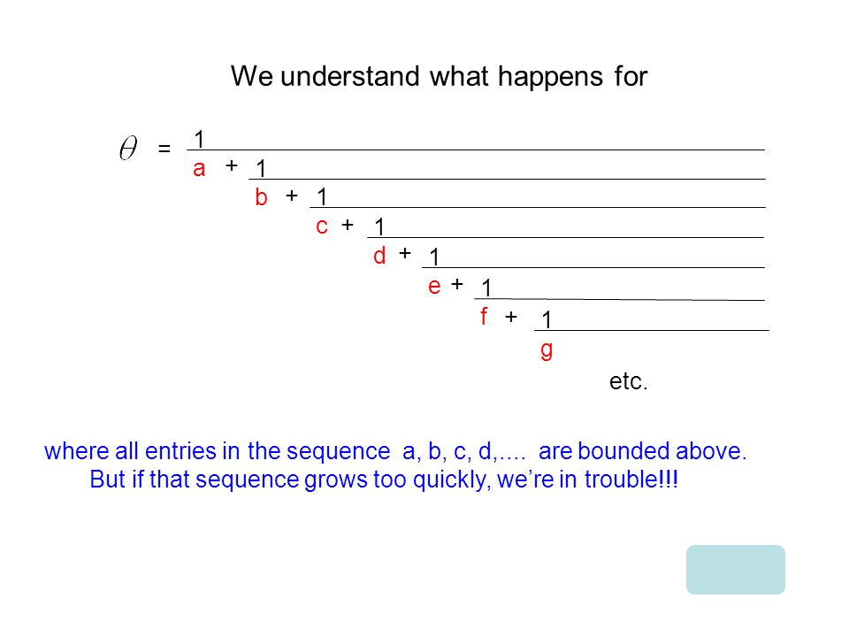 We understand what happens for = 1a1a + 1b1b + 1c1c 1d1d + 1e1e + 1f1f + 1g1g + where all entries in the sequence a, b, c, d,....