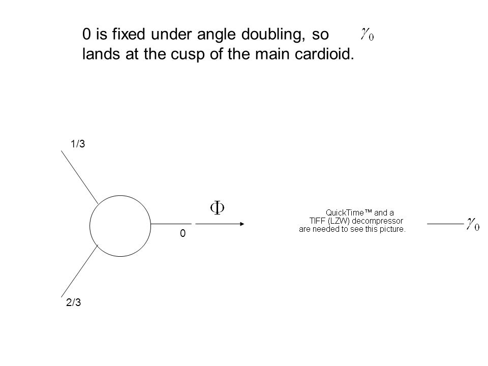 0 1/3 2/3 0 is fixed under angle doubling, so lands at the cusp of the main cardioid.