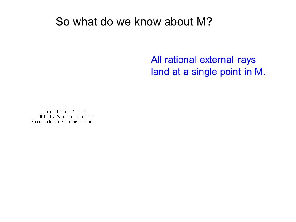 So what do we know about M All rational external rays land at a single point in M.