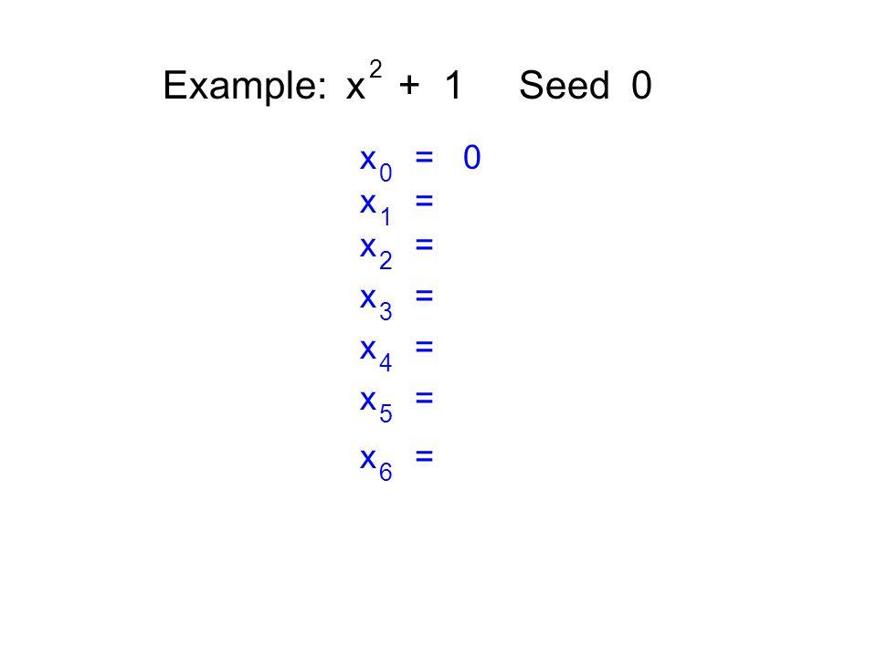 Example: x + 1 Seed 0 2 x = 0 0 x = 1 2 3 4 5 6