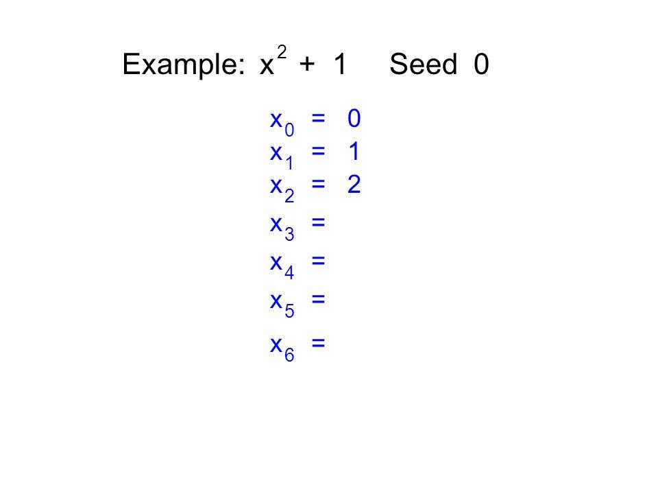 Example: x + 1 Seed 0 2 x = 0 0 x = 1 1 x = 2 2 x = 3 4 5 6