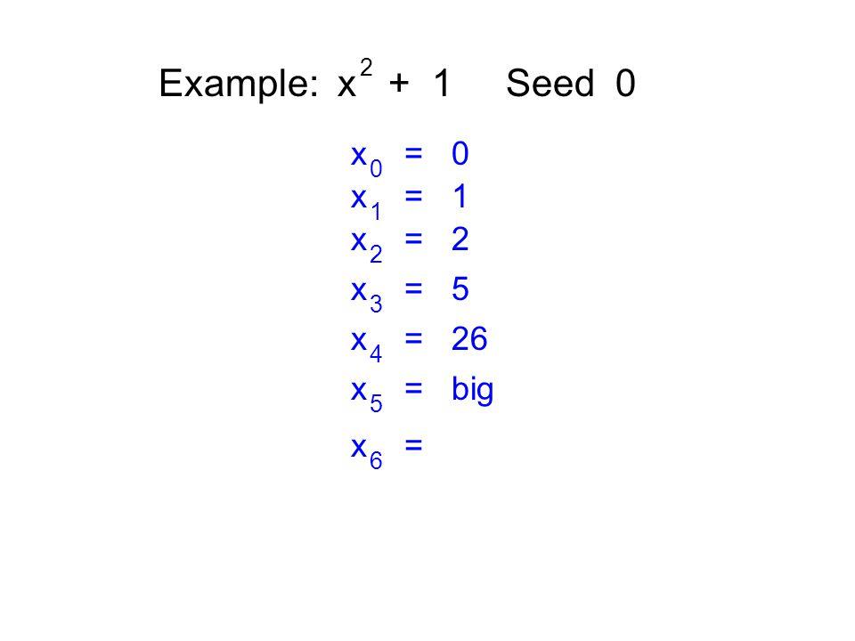 Example: x + 1 Seed 0 2 x = 0 0 x = 1 1 x = 2 2 x = 5 3 x = 26 4 x = big 5 x = 6