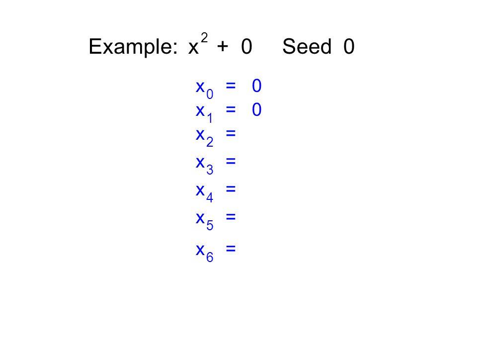 Example: x + 0 Seed 0 2 x = 0 0 1 x = 2 3 4 5 6