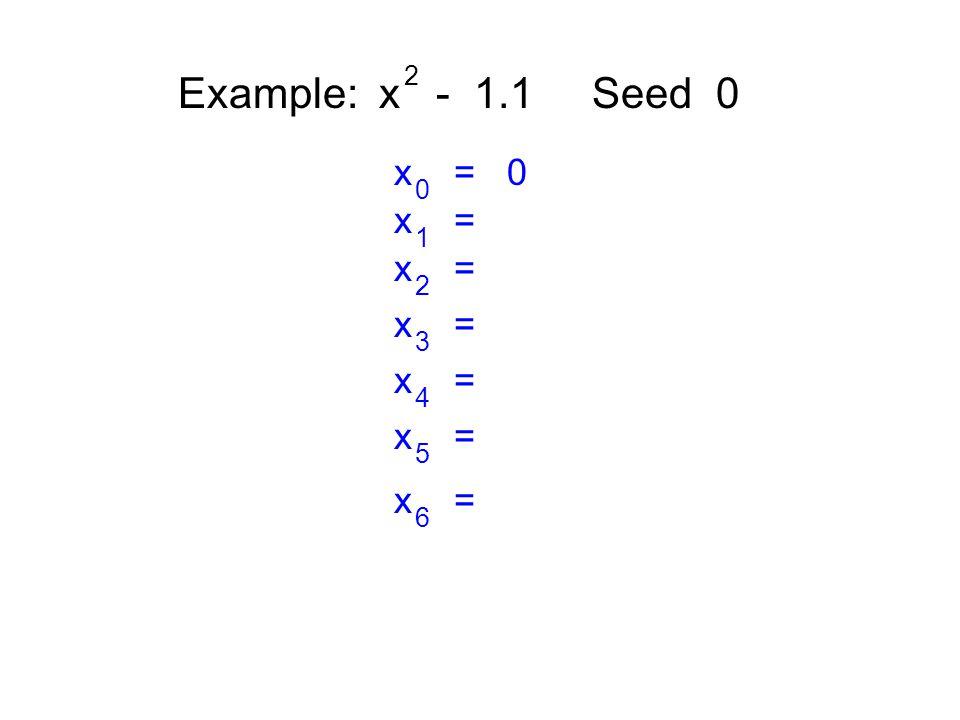 Example: x - 1.1 Seed 0 2 x = 0 0 x = 1 2 3 4 5 6