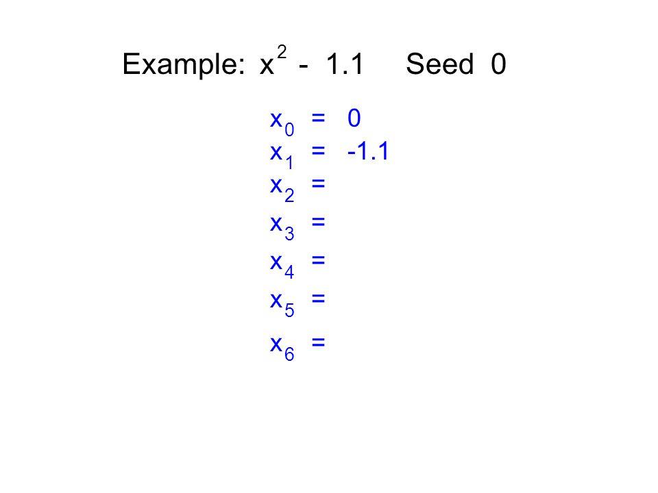 Example: x - 1.1 Seed 0 2 x = 0 0 x = -1.1 1 x = 2 3 4 5 6