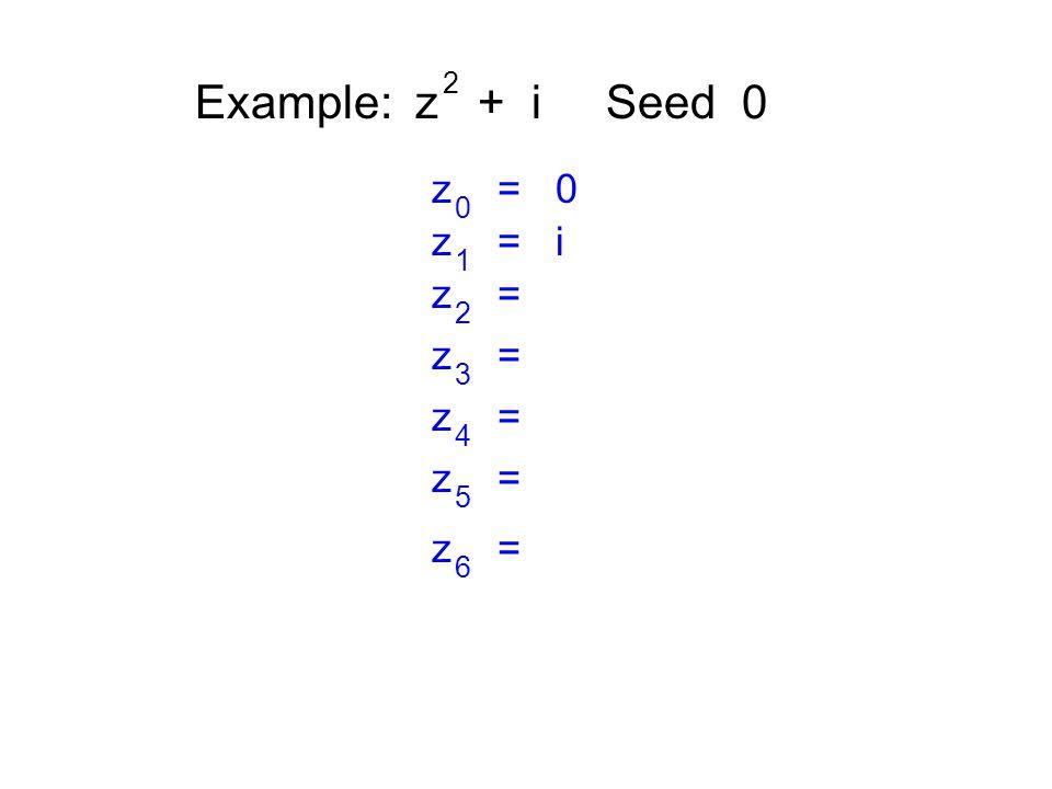 Example: z + i Seed 0 2 z = 0 0 z = i 1 z = 2 3 4 5 6