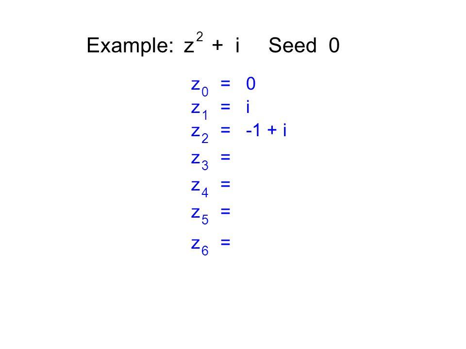 Example: z + i Seed 0 2 z = 0 0 z = i 1 z = -1 + i 2 z = 3 4 5 6