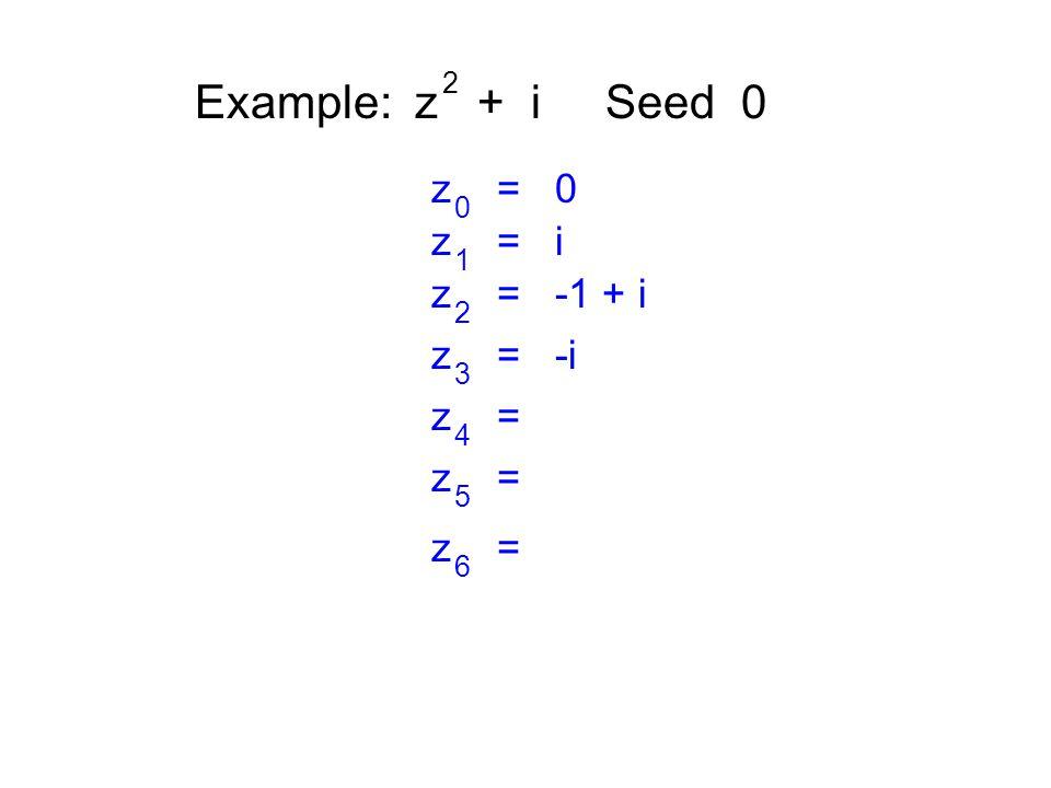 Example: z + i Seed 0 2 z = 0 0 z = i 1 z = -1 + i 2 z = -i 3 z = 4 5 6