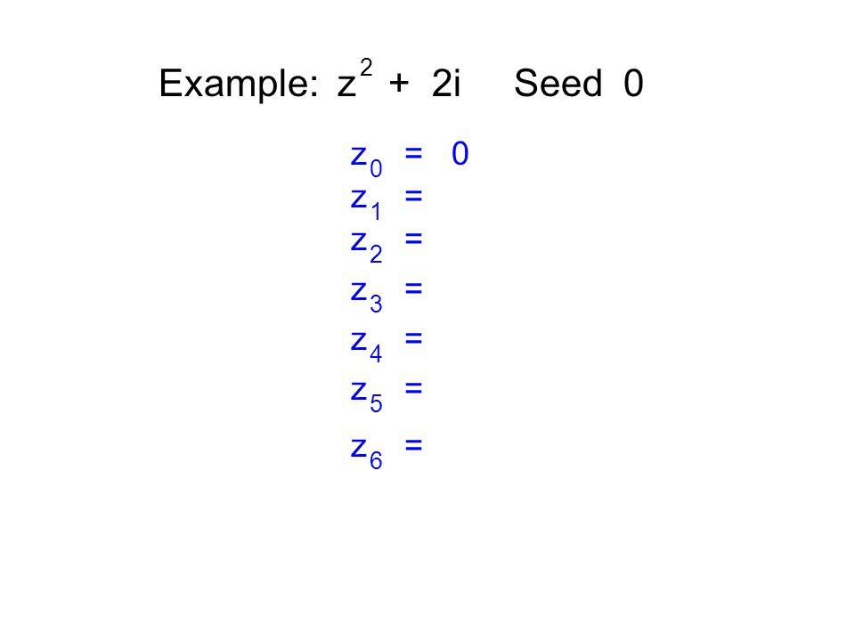Example: z + 2i Seed 0 2 z = 0 0 z = 1 2 3 4 5 6