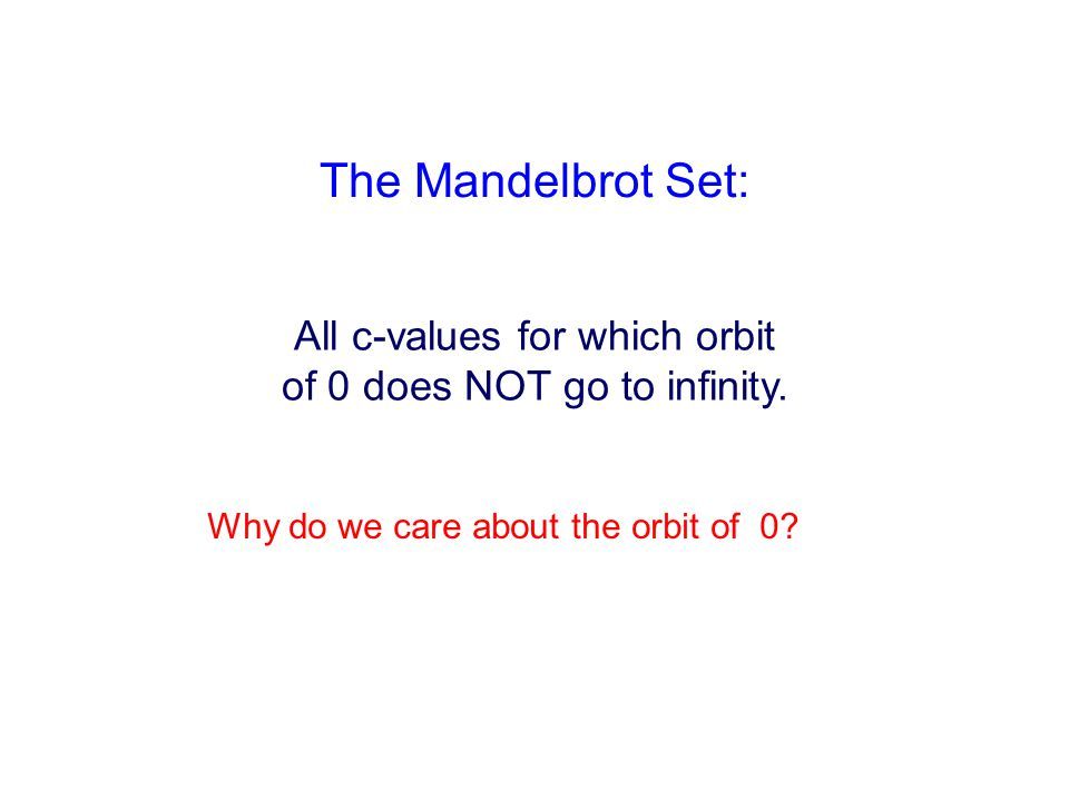 The Mandelbrot Set: All c-values for which orbit of 0 does NOT go to infinity.