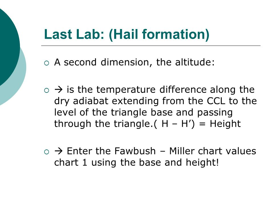 Last Lab: (Hail formation)  A second dimension, the altitude:   is the temperature difference along the dry adiabat extending from the CCL to the level of the triangle base and passing through the triangle.( H – H') = Height   Enter the Fawbush – Miller chart values chart 1 using the base and height!