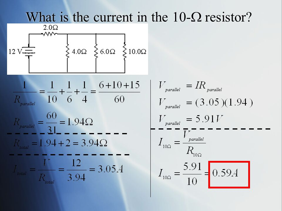 What is the current through each of the resistors in the following circuit.