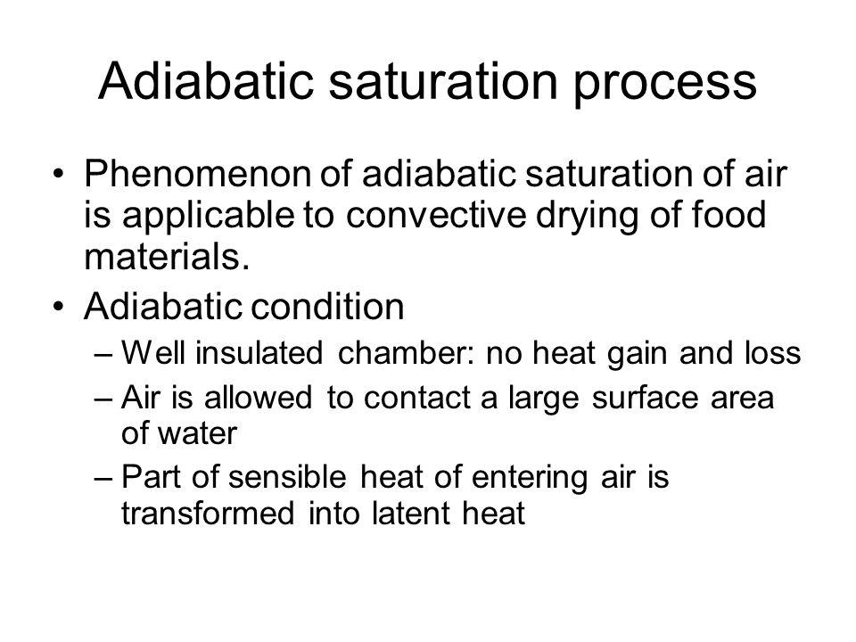 Adiabatic saturation process Phenomenon of adiabatic saturation of air is applicable to convective drying of food materials. Adiabatic condition –Well