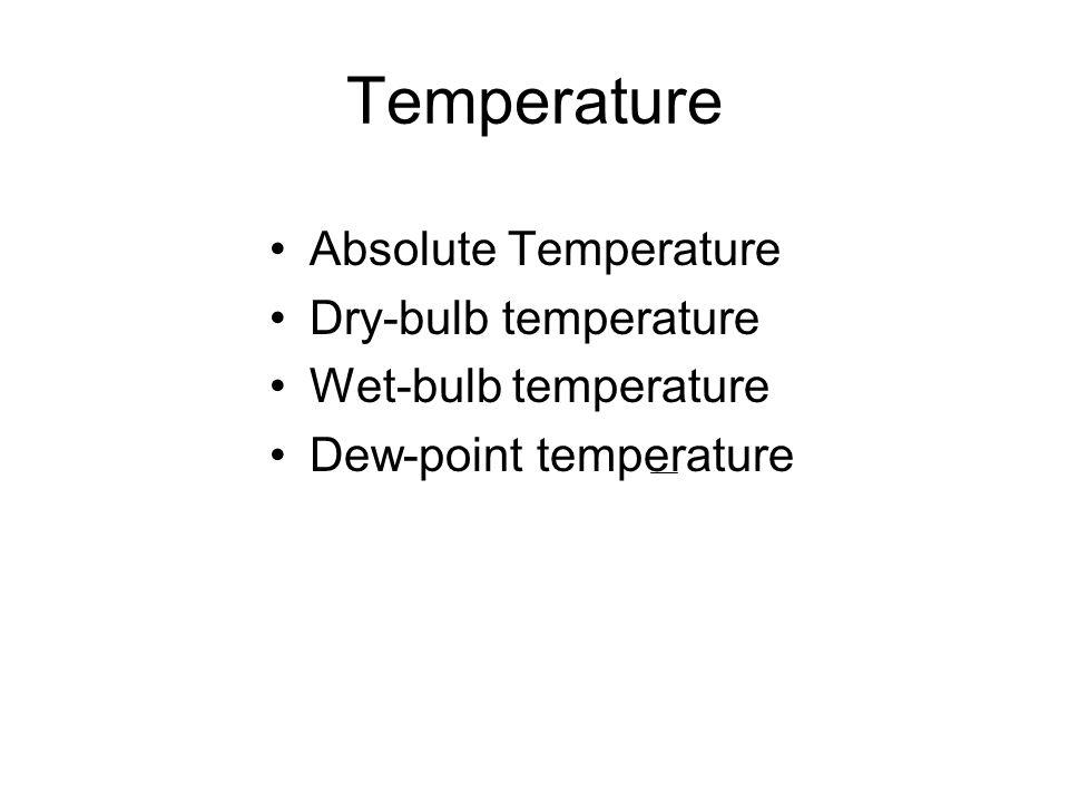 Absolute Temperature Dry-bulb temperature Wet-bulb temperature Dew-point temperature Temperature