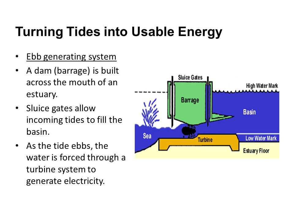 Ebb generating system A dam (barrage) is built across the mouth of an estuary.